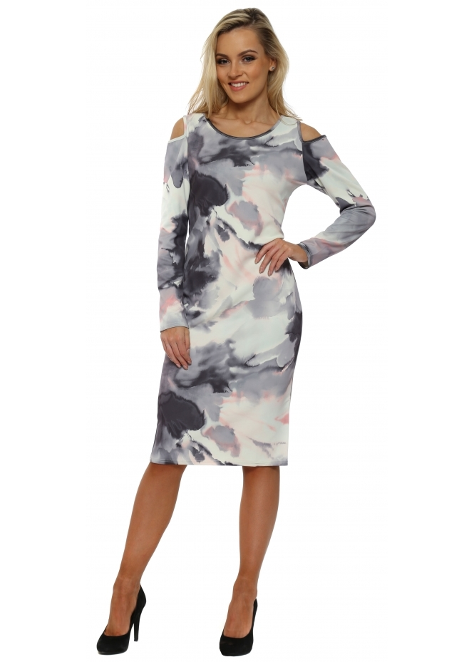 A Postcard From Brighton Chloe Cold Shoulder Cloudy Scuba Midi Dress In Bone