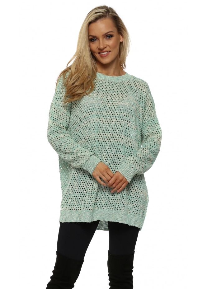 A Postcard From Brighton Green & White Hole knit Jumper