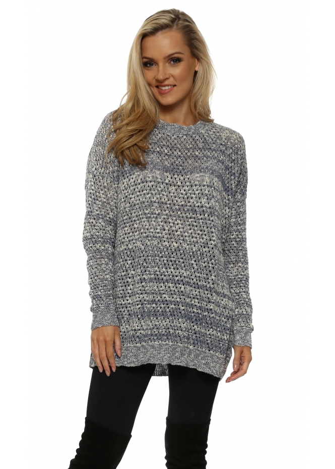 A Postcard From Brighton Blue & White Hole knit Jumper