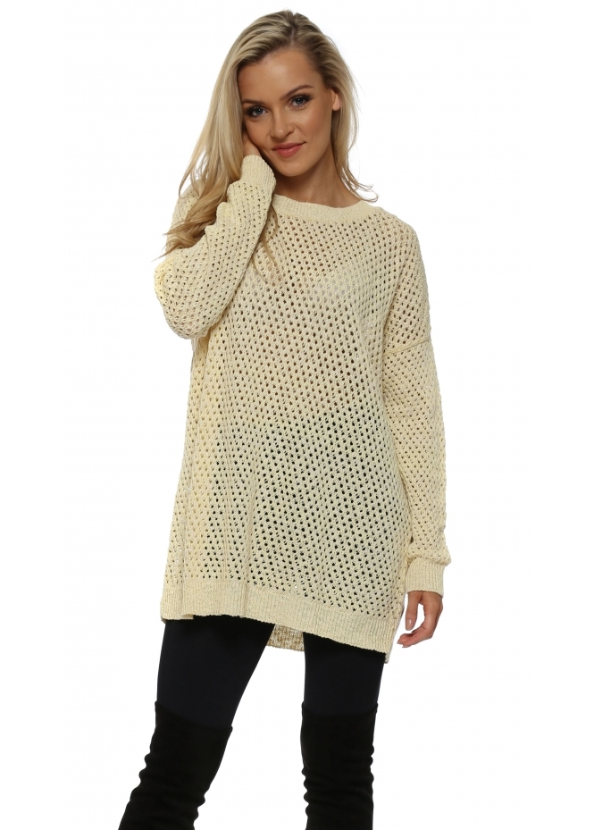 A Postcard From Brighton Yellow & White Hole knit Jumper