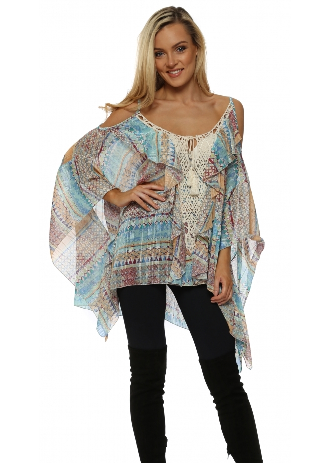 My Story Aztec Print Crochet Cold Shoulder Top