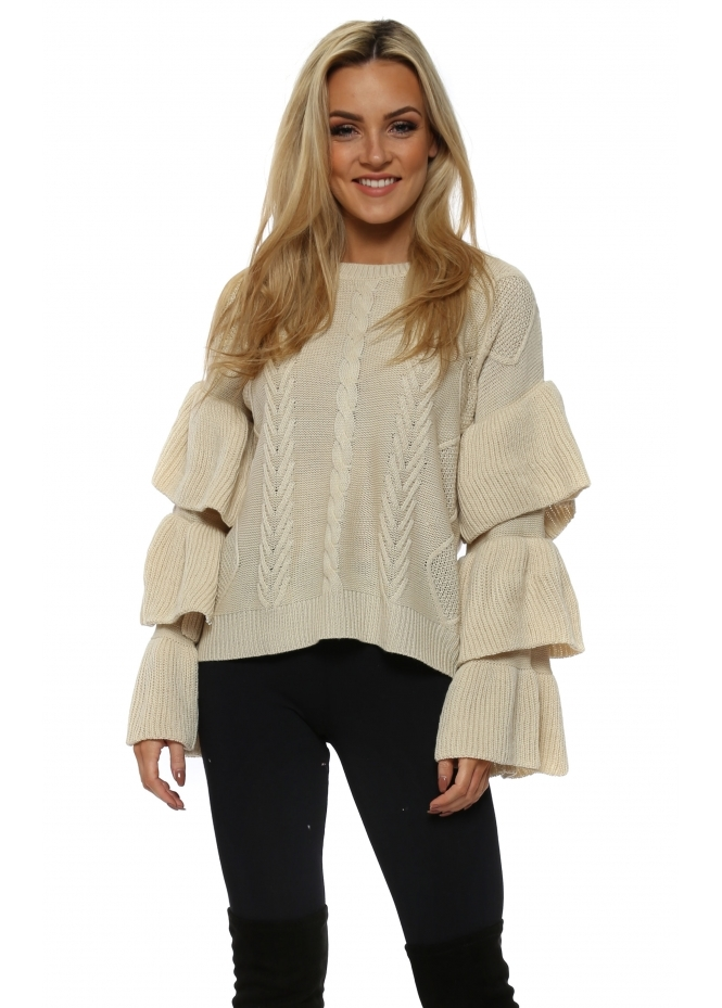 French Boutique Beige Cable Knit Frill Sleeve Jumper