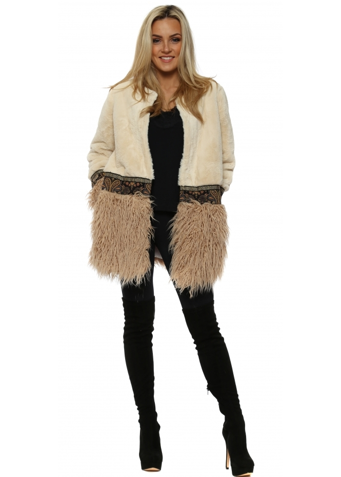 French Boutique Cream Mongolian Faux Fur Coat