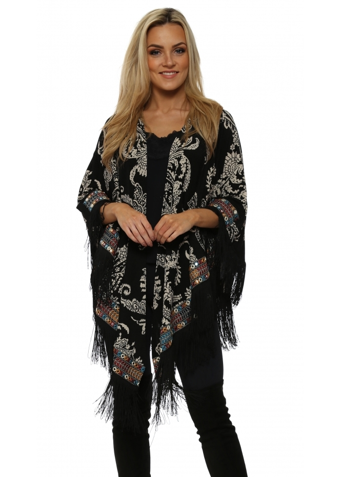 My Story Black Paisley Print Multi Braid Fringed Cape