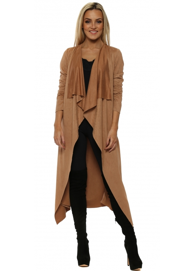 French Boutique Tan Faux Suede Waterfall Front Belted Coat