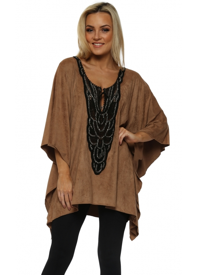 My Story Tan Faux Suede Black Beaded Neckline Top