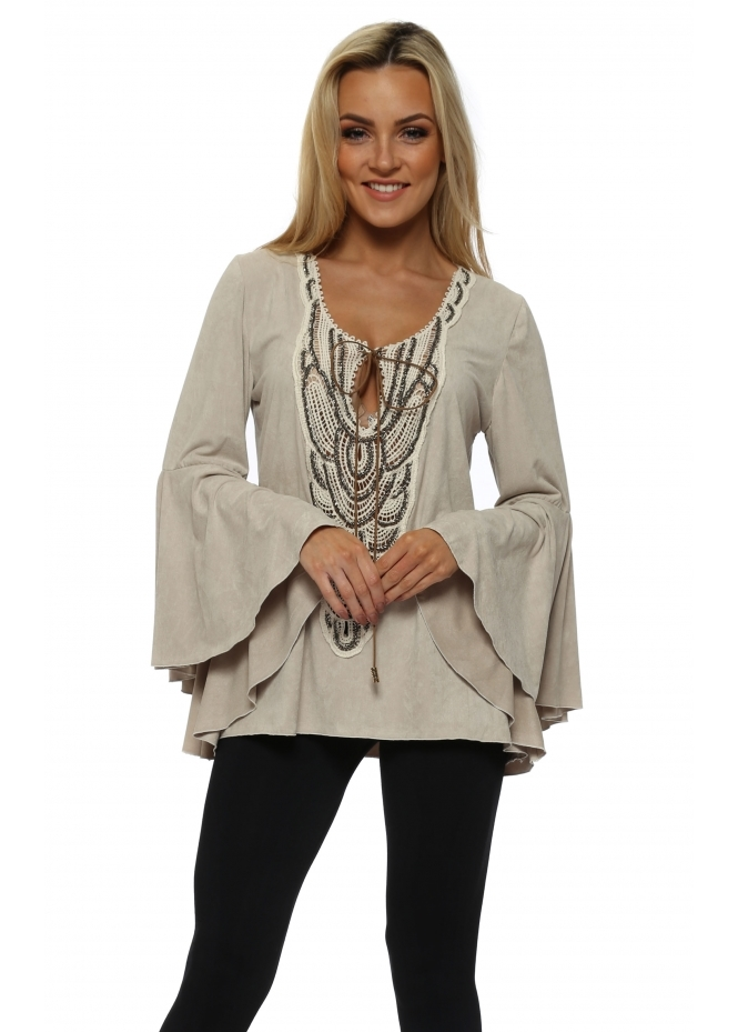 My Story Beige Faux Suede Bell Sleeve Top