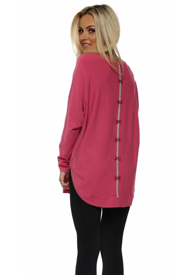 French Boutique Hot Pink Diamonte Bow Back Jumper