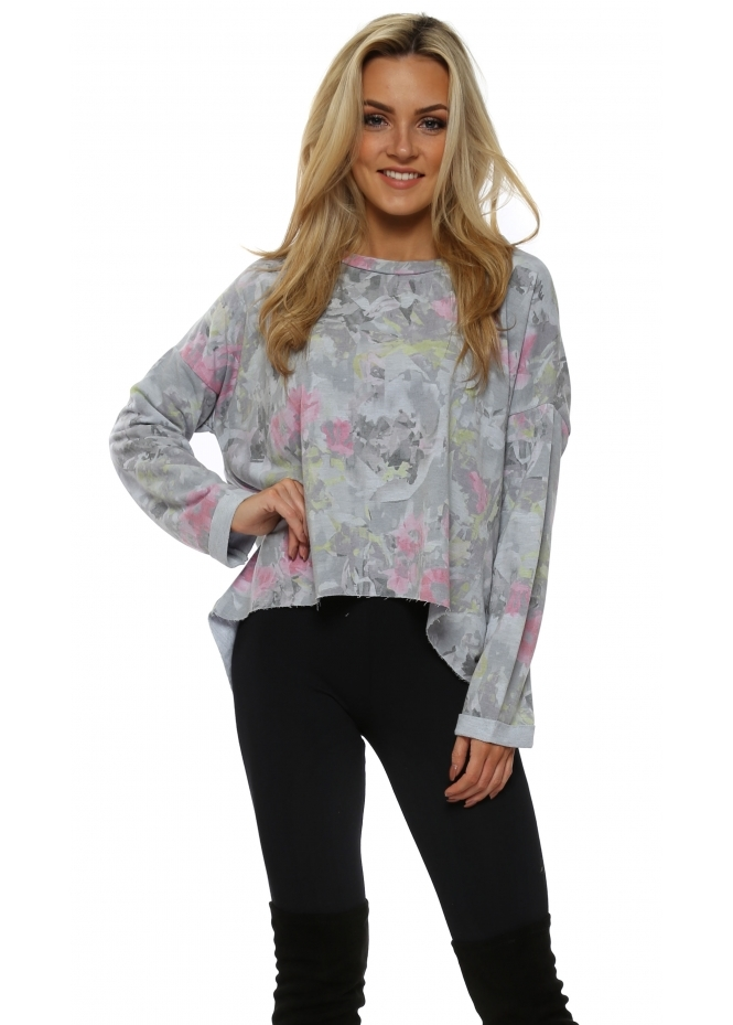 A Postcard From Brighton Fallon Wisteria Fragmented Floral Dip Hem Sweater