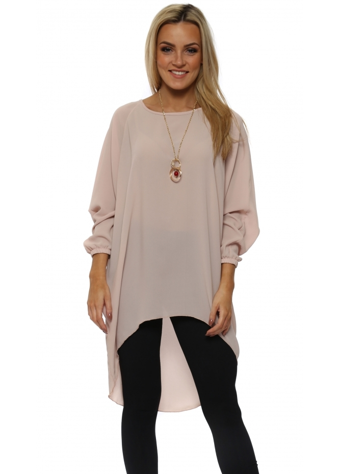 Made In Italy Pink Crepe Tunic Top With Necklace