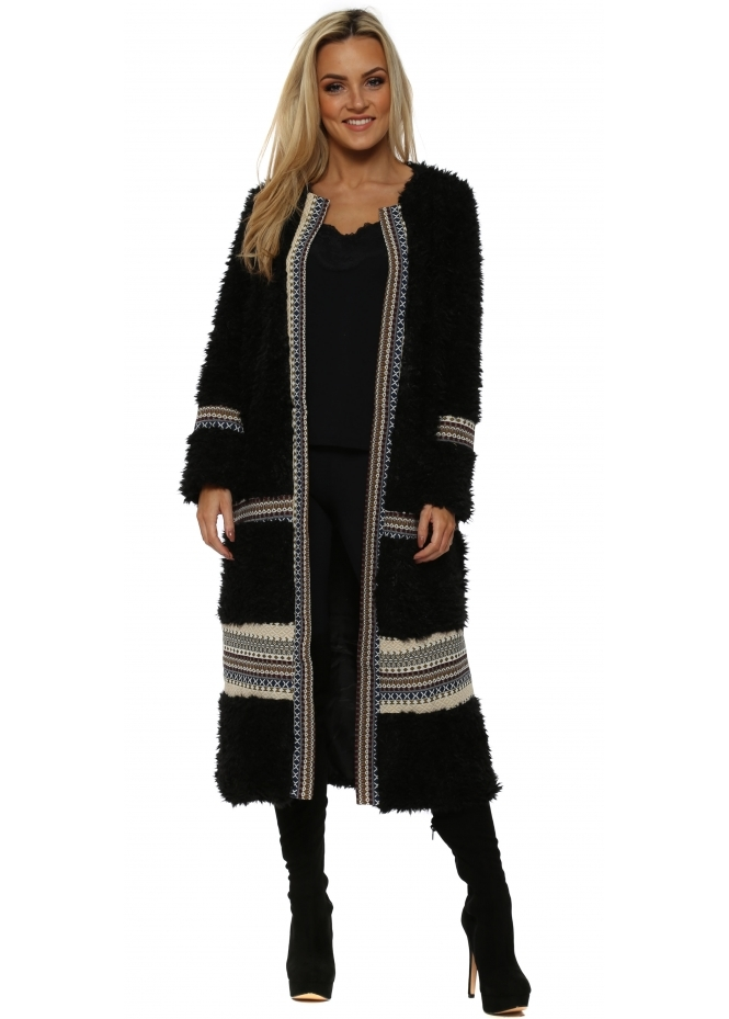 French Boutique Black Aztec Trim Long Faux Fur Cardigan Coat