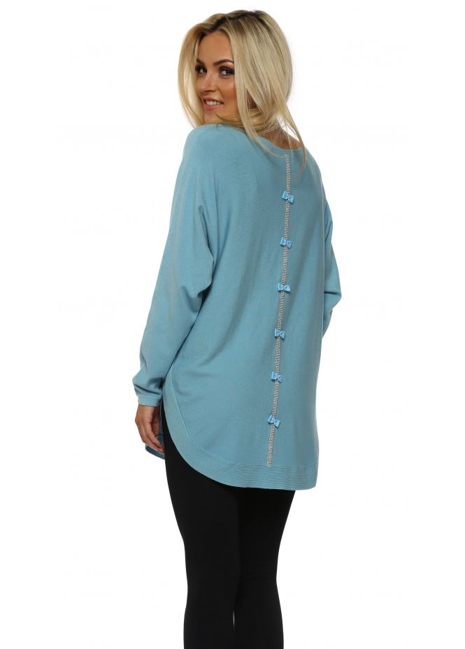 French Boutique Turquoise Diamonte Bow Back Jumper