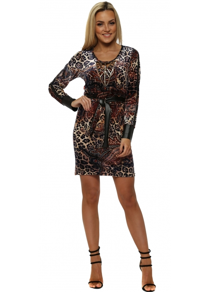My Story Leopard & Paisley Plush Velvet Beaded Dress