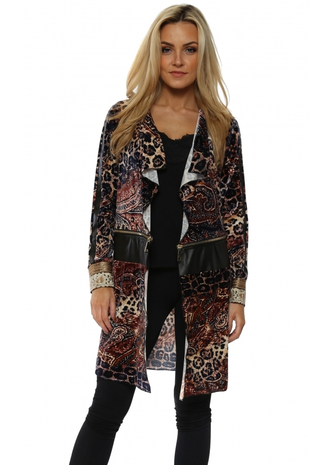 My Story Paisley & Leopard Plush Velvet Waterfall Coat