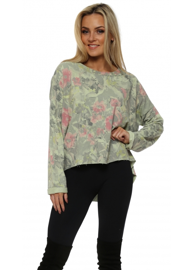 A Postcard From Brighton Fallon Apple Fragmented Floral Dip Hem Sweater