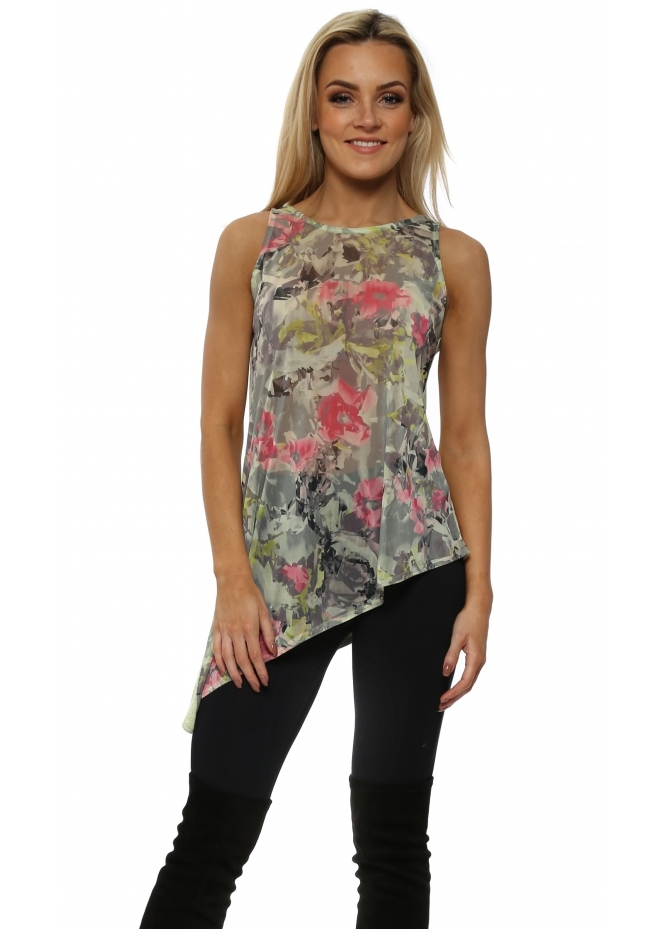 A Postcard From Brighton Fleur Apple Asymmetric Vest Top