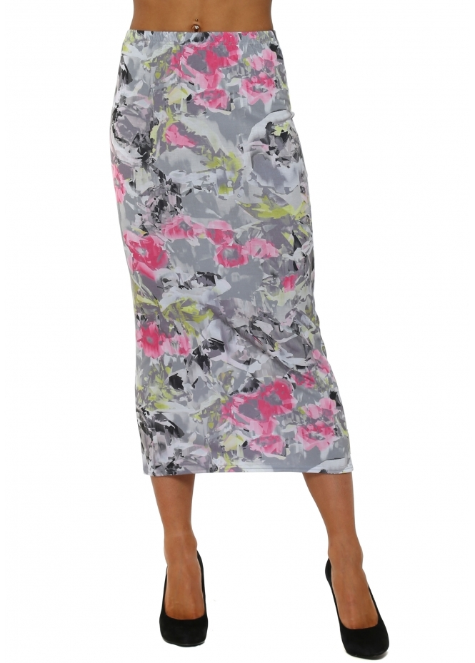 A Postcard From Brighton Floral Fragmented Floral Wisteria Midi Skirt