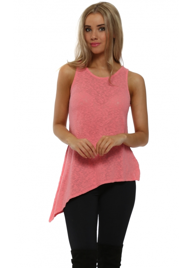 A Postcard From Brighton Riana Slub Knit Asymmetric Vest Top In Coral Haze