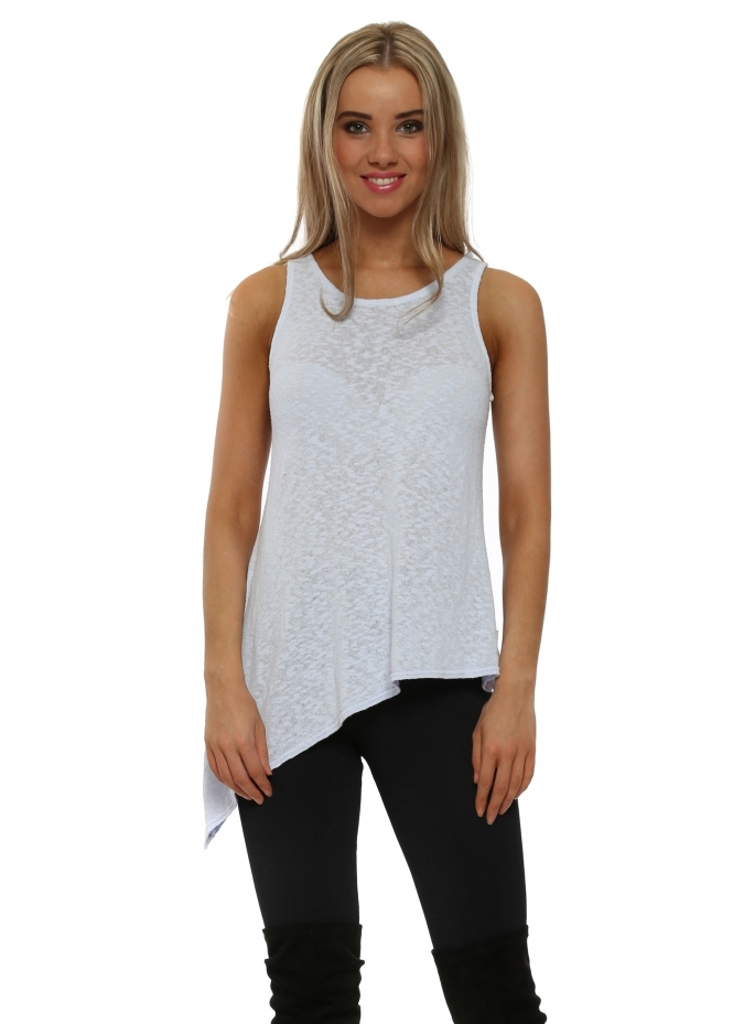 A Postcard From Brighton Riana Slub Knit Asymmetric Vest Top In Wisteria