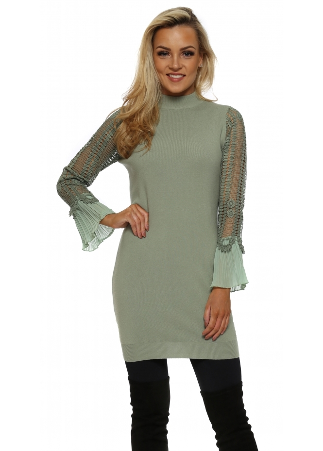 Laetitia Mem Sage Green Crochet Sleeve Long Jumper