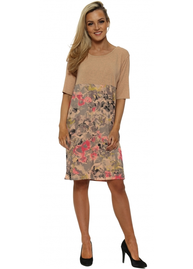 A Postcard From Brighton Fizz Fragmented Floral Tunic Dress In Sherbert