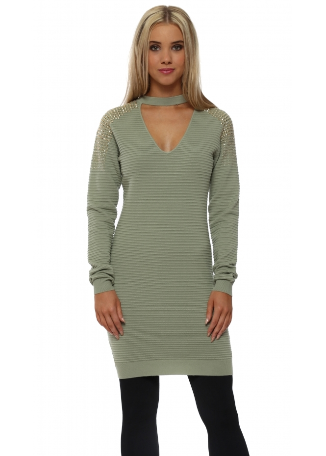Laetitia Mem Sage Green Studded Shoulder Choker Long Jumper