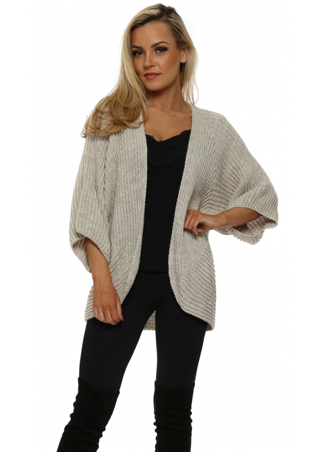 J&L Paris Beige Lurex Cocoon Shruggy Cardigan