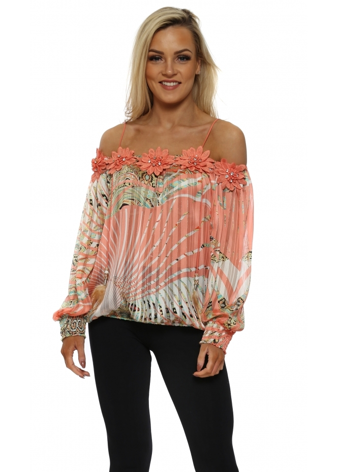 Just M Paris Fleur Peach Tropical Paisley Off The Shoulder Top