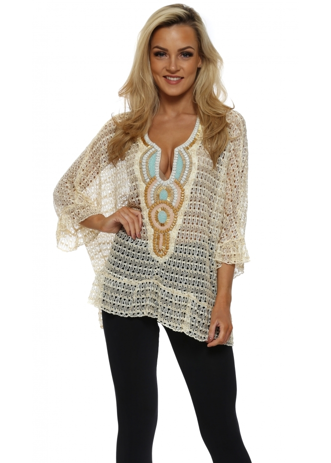 Just M Paris Volant Gold Crochet Lace Beaded Top