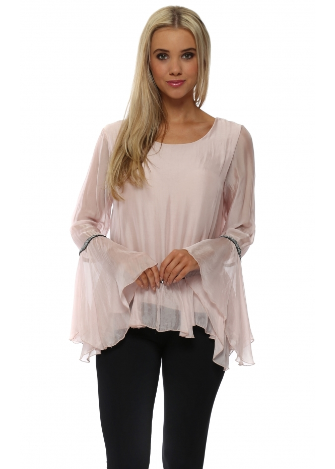 French Boutique Baby Pink Silk Sequin Trim Bell Sleeve Top