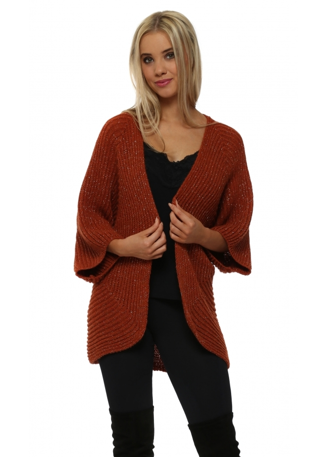 J&L Paris Rust Lurex Cocoon Shruggy Cardigan