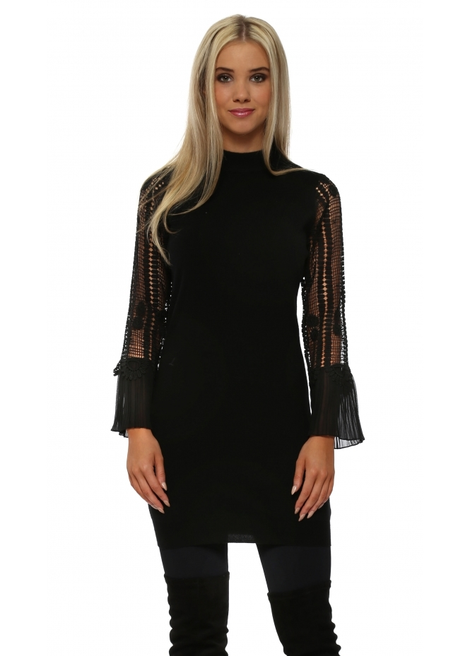Laetitia Mem Black Crochet Sleeve Long Jumper