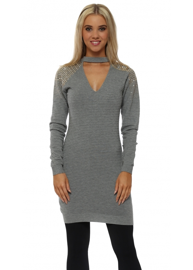 Laetitia Mem Grey Studded Shoulder Choker Long Jumper
