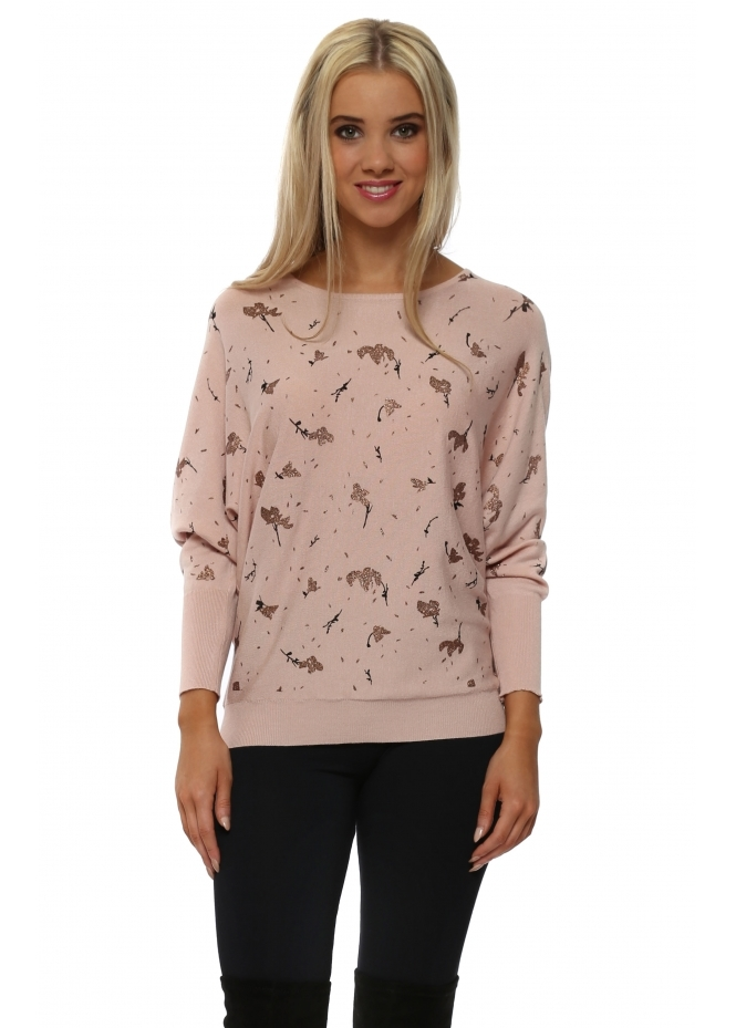 JS Millenium Rose Gold Glitter Leaf & Twig Jumper In Pink