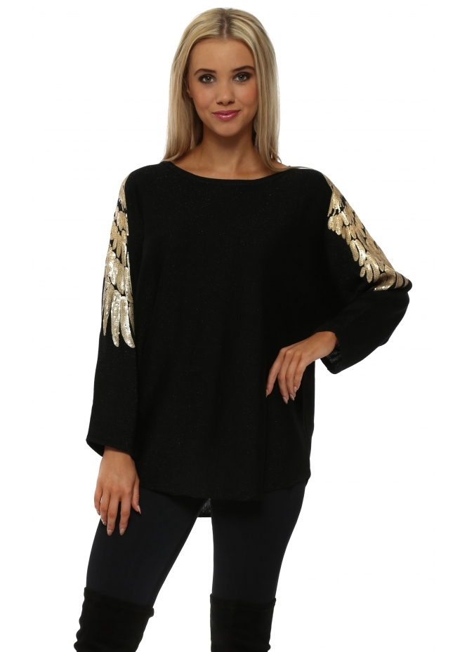 JS Millenium Gold Sequinned Wings Black Jumper