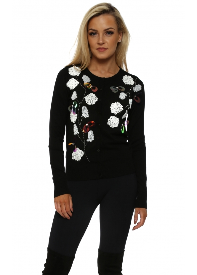 French Boutique Black Beaded & Jewelled Button Front Cardigan