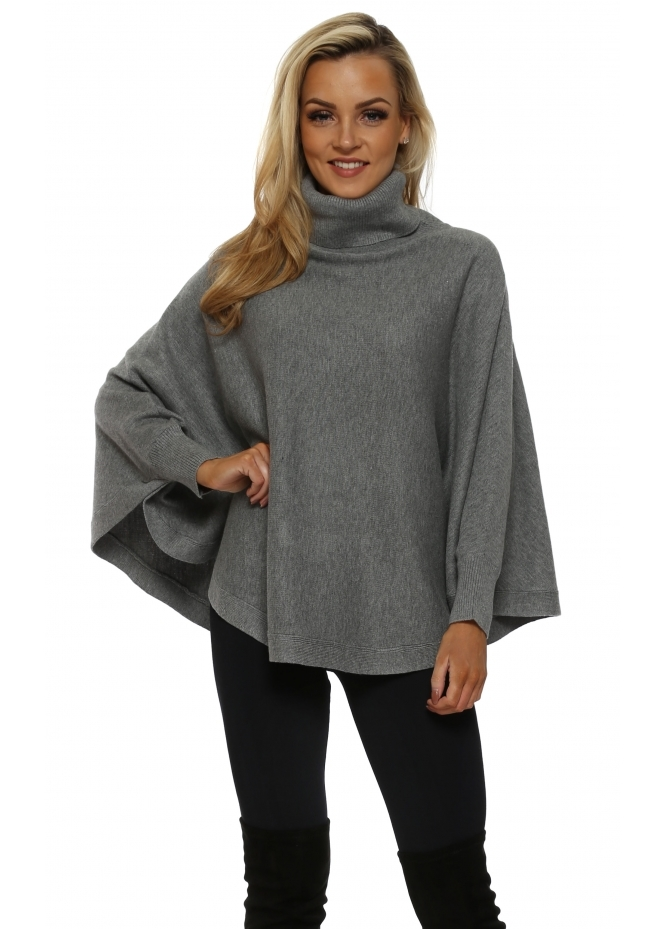 French Boutique Grey Polo Curved Poncho Jumper
