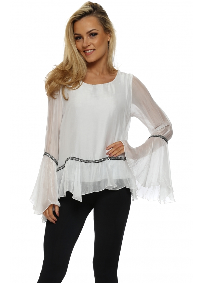 French Boutique White Silk Sequin Trim Bell Sleeve Top
