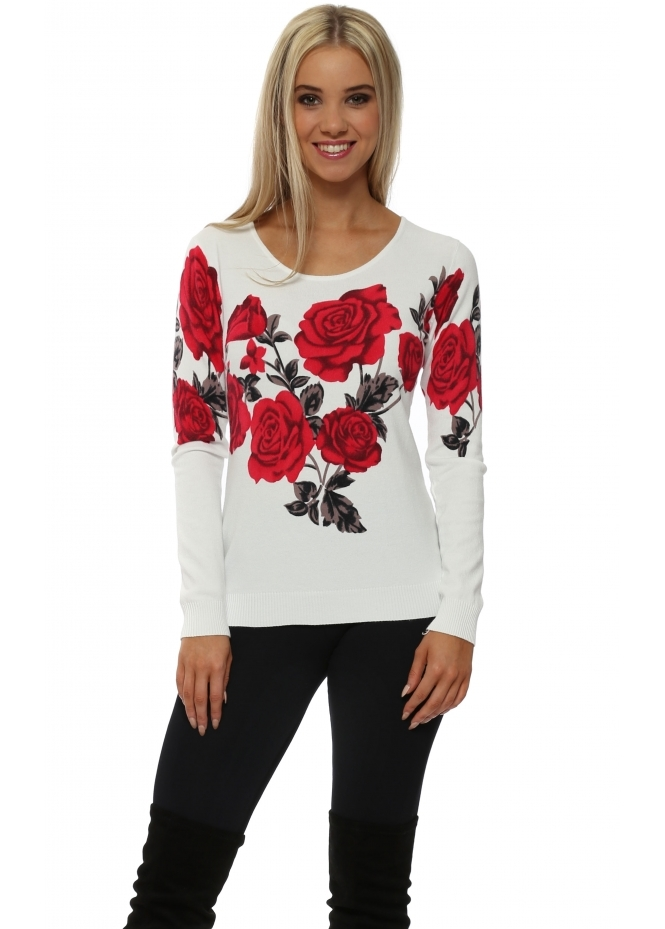 French Boutique Red Roses White Long Sleeve Jumper