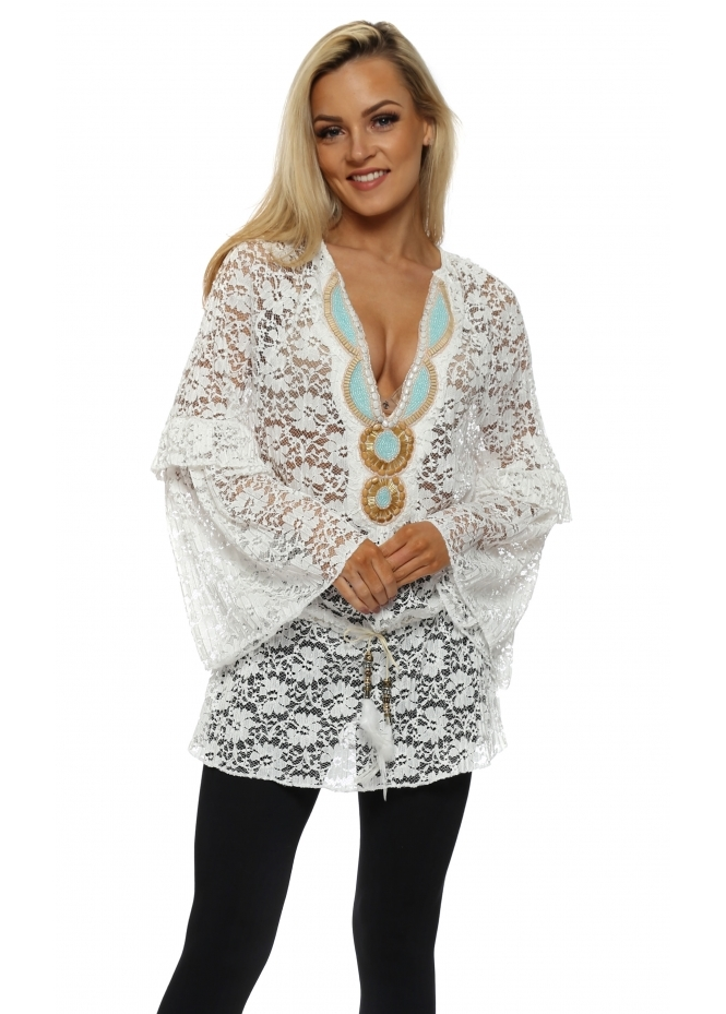 Just M Paris Dentelle White Floral Lace Embellished Tunic Top