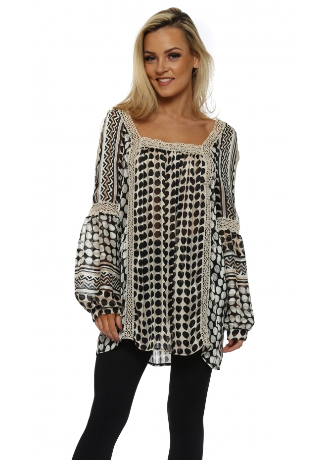 Just M Paris Tsipora Spot Print Chiffon Tunic Blouse