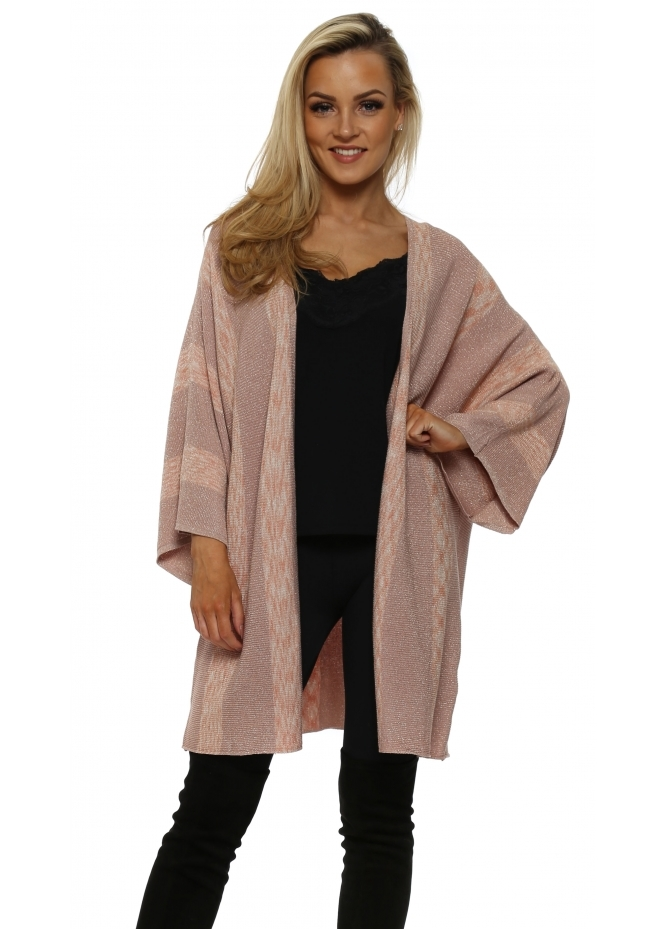 JS Millenium Peach & Pink Lurex Patterned Kimono Cardiagn