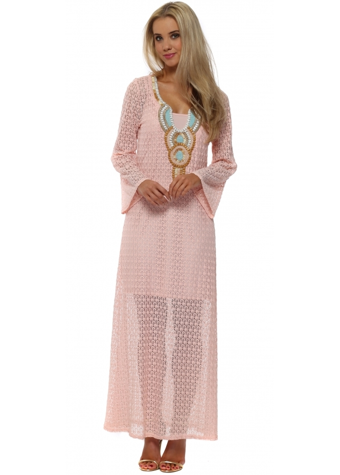 Just M Paris Pink Crochet Lace Beaded Maxi Kaftan Dress