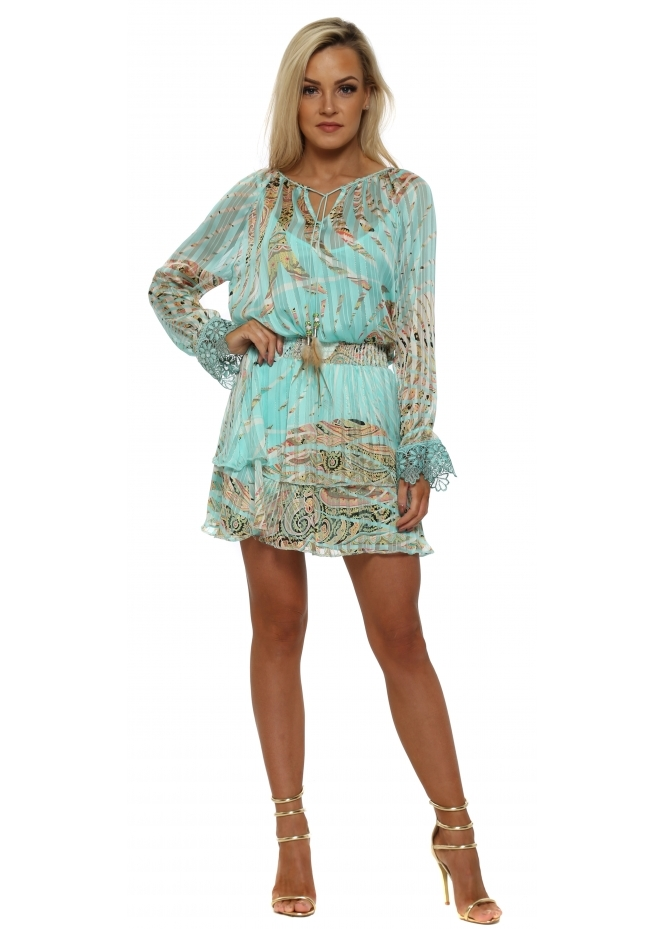 Just M Paris Tahel Aqua Tropical Paisley Print Mini Dress