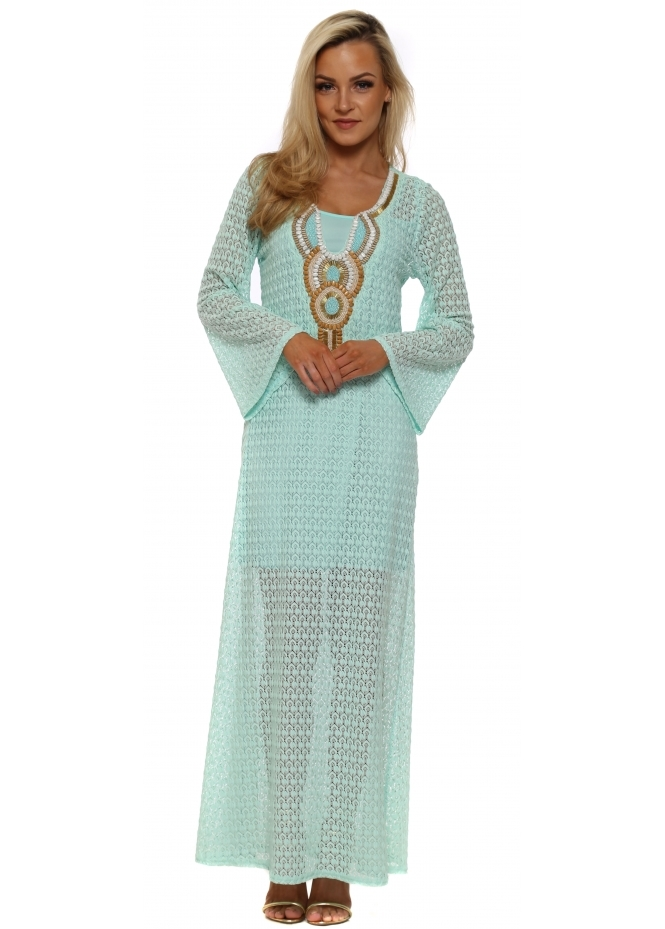 Just M Paris Aqua Crochet Lace Beaded Maxi Kaftan Dress