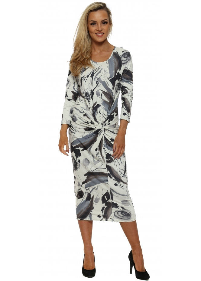 A Postcard From Brighton Winona Bone Jersey Knot Watery Paint Midi Dress