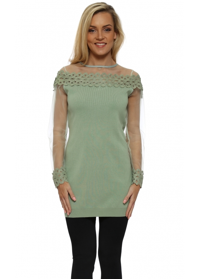 Laetitia Mem Sage Spiral Lace Mesh Sleeve Long Jumper