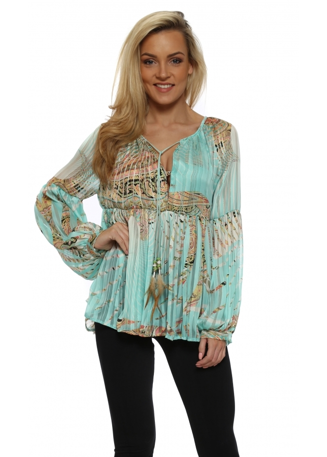 Just M Paris Boheme Aqua Tropical Paisley Tunic Top
