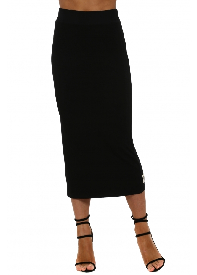A Postcard From Brighton Mindy Black Jersey Midi Skirt