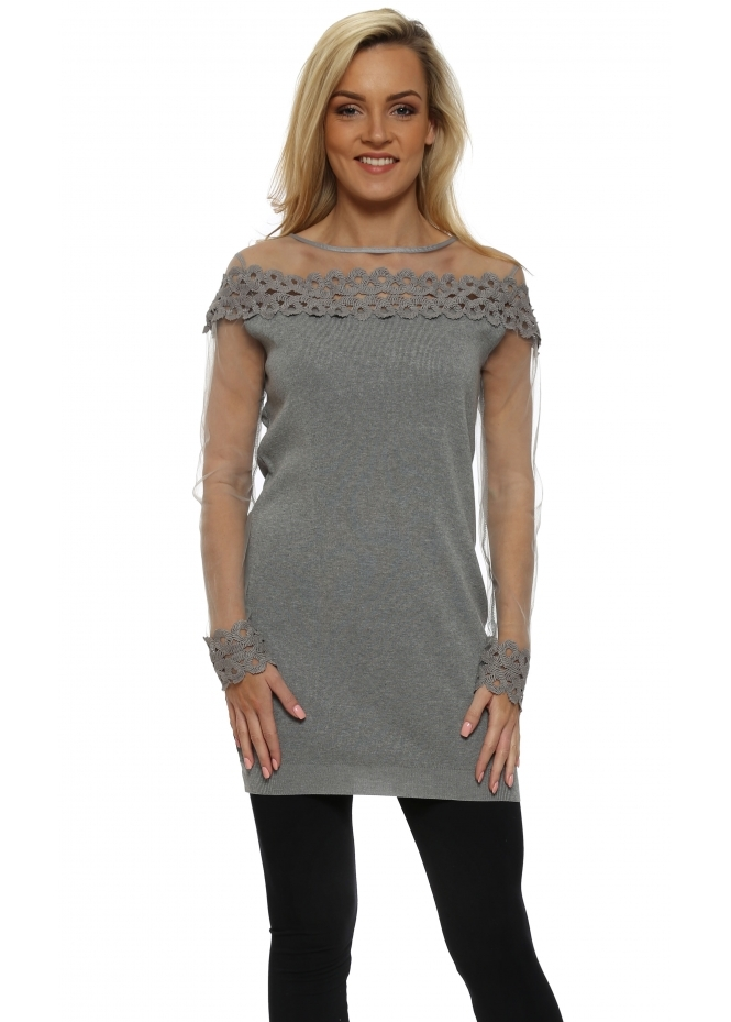 Laetitia Mem Grey Spiral Lace Mesh Sleeve Long Jumper